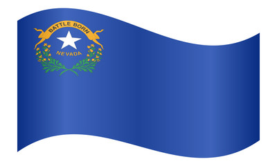 Flag of Nevada waving on white background
