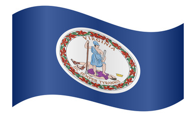 Flag of Virginia waving on white background