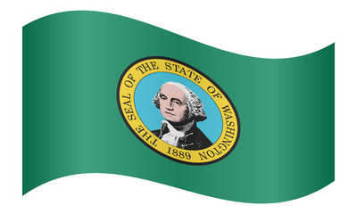 Flag of Washington state waving, white background