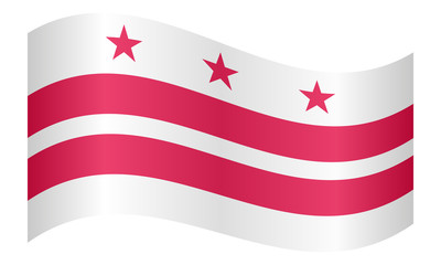 Flag of Washington, D.C. waving, white background