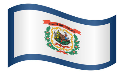 Flag of West Virginia waving on white background