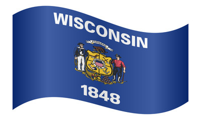 Flag of Wisconsin waving on white background