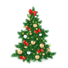 vector illustration of big christmas tree, decorated white and golden christmas ornaments and red ribbon bows