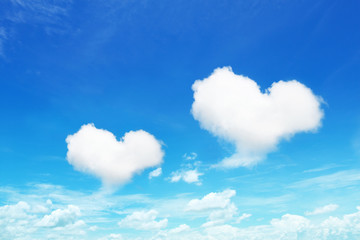 two heart shaped clouds on blue sky