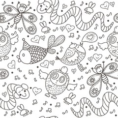 Cute children seamless pattern. Happy vector background.