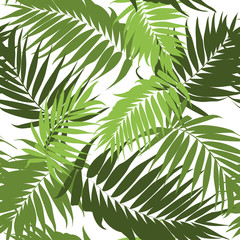 Jungle tree leaves tropical seamless pattern.