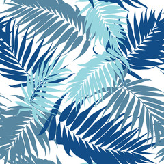 Tropical plant leaves camouflage seamless pattern