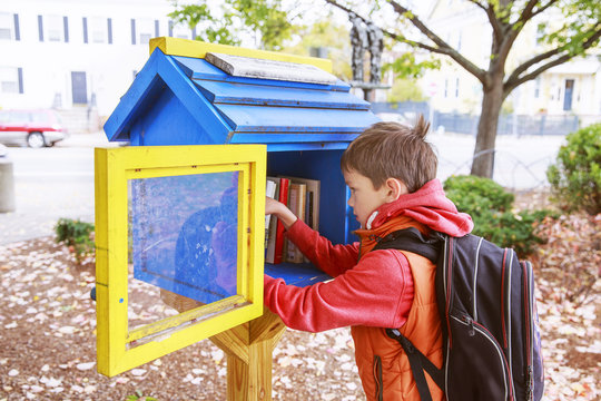 boy takes the free books on the street. little free street library. schoolboy choosing a book to borrow