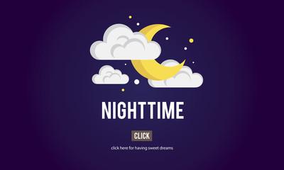 Nighttime Bright Dark Evening Midnight Moon Concept