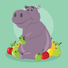 hippo eating fruit vector illustration design