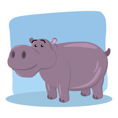 hippo character vector illustration design