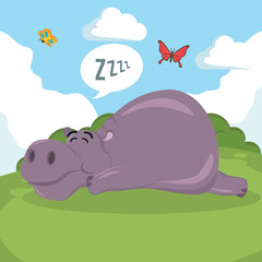hippo sleeping vector illustration design