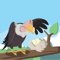 vulture stealing eegs vector illustration design