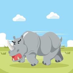 rhino charging vector illustration design