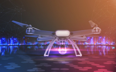 Double Exposure, Modern Remote Control Air Drone Flying with action camera. on black background. 3D .