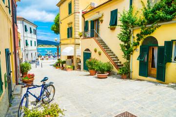 Wall Mural - City street in Marina di campo, Elba Island, Tuscany, Italy.