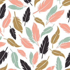 Feather seamless pattern in boho colors vector illustration