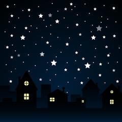 Stars, Sky, Night. Silhouette of the City. Moon.