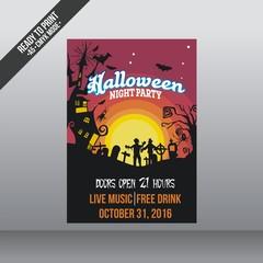 Halloween night party vector template
