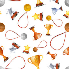 Winners awards with medals, cups and stars on white, seamless pattern