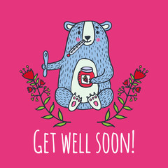 Get well soon card with teddy bear and jam