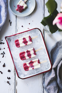 Hibiscus, Rhubarb and Yogurt Ice Pops