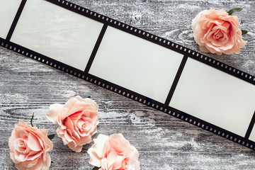 Background with a frame in the form of a film, and pink roses on