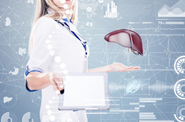 Double Exposure, Doctor holding human organs ( liver) and tablet , gray background.