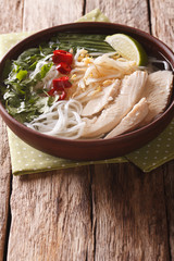 Vietnamese food: spicy soup Pho Ga with chicken, rice noodles and herbs close-up. vertical