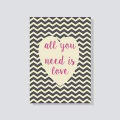 all you need is love typography chevron grey