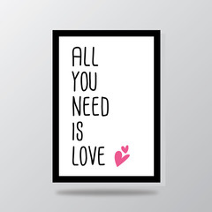 all you need is love typography heart vector