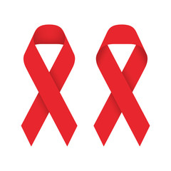 Red ribbon AIDS, HIV icon illustration, front and back side isolated on white background