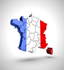Map of France on a grey background. 3D rendering.