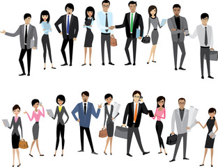 Set Asian businessmen and business women isolated