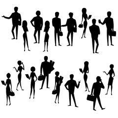 Set silhouette  businessmen and business women isolated
