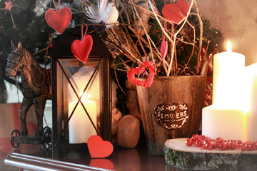 valentine heart decor branch candle
