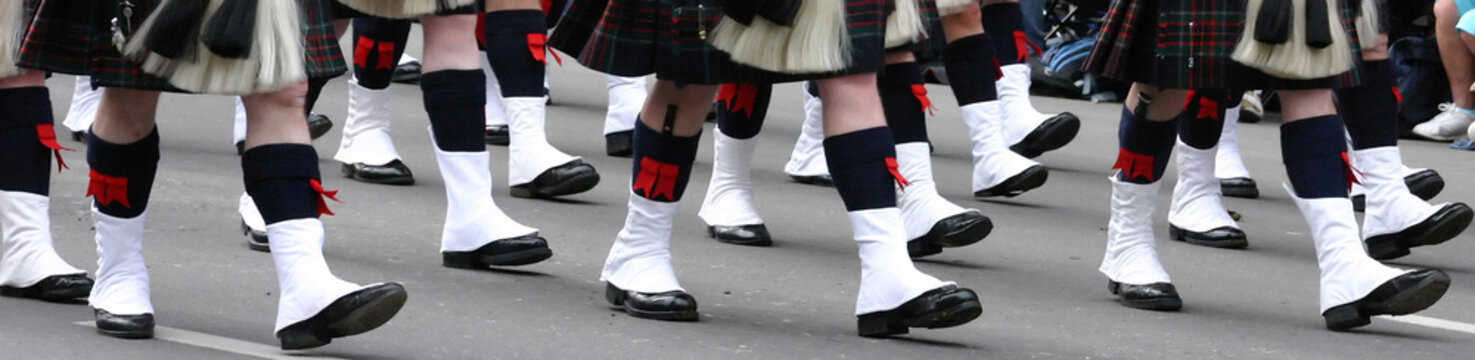 Kilted Bagpipe players