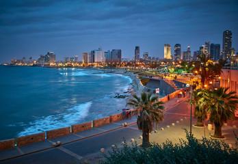 Waterfront of Tel Aviv. Night view from Jaffa.