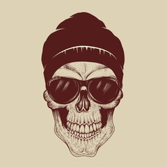 Skull with sunglasses and hat