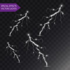 Vector lightnings. Set. Light Effects