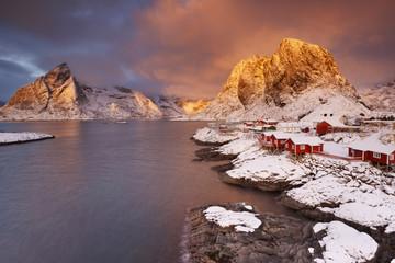 Spectacular light over Reine village on the Lofoten, Norway
