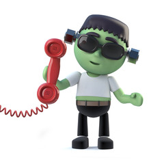 3d Cute Halloween frankenstein monster answers the phone