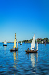 Sailboats in summer sea scenery - vertical view