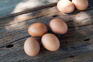 Egg on natural wood,Fresh eggs.