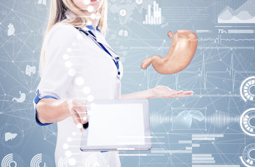 Double Exposure, Doctor holding human organs and tablet , gray background.
