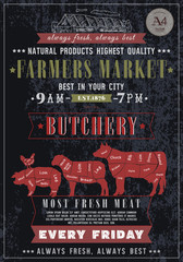 Butcher shop vintage poster. Fresh meat beef, pork, lamb.