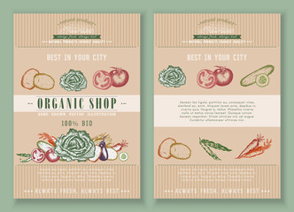 Organic food design template. Fresh vegetables