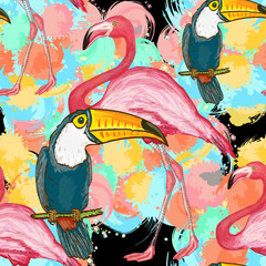 Vector seamless tropical pattern. Toucans and flamingos