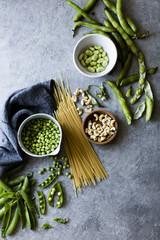 Ingredients for spring vegetable pasta