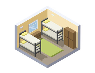 Vector Isometric illustration of hostel room. Flat 3d. Interior design. Cheap hotel icon.